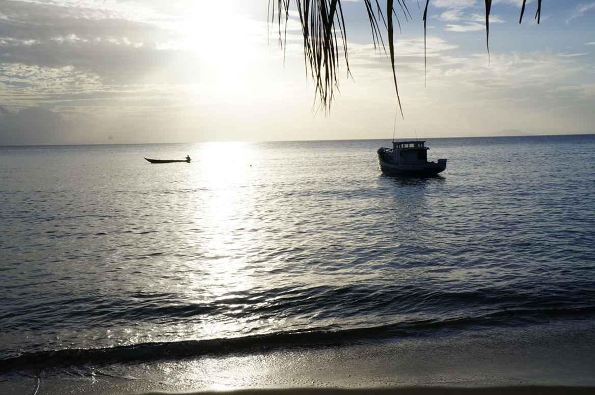 Masoala - boat, pirogue in sunset