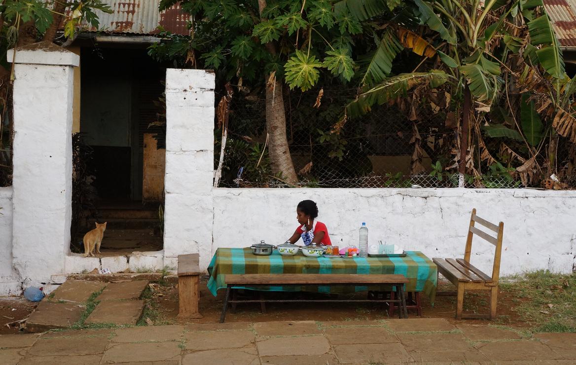 Madagascar girl selling dinner