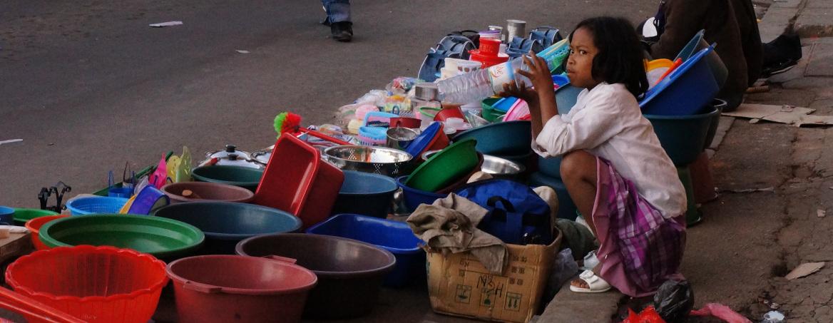 Antananarivo- small girl minding the store
