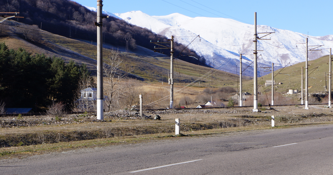 Armenia, snow-covered mountain, road to Vanadzor