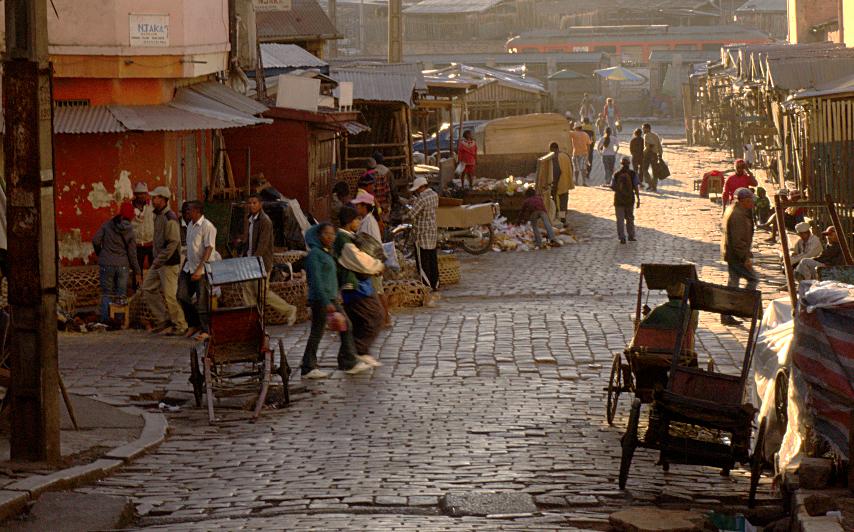 Antananarivo Street - Stalls - Rickshaws