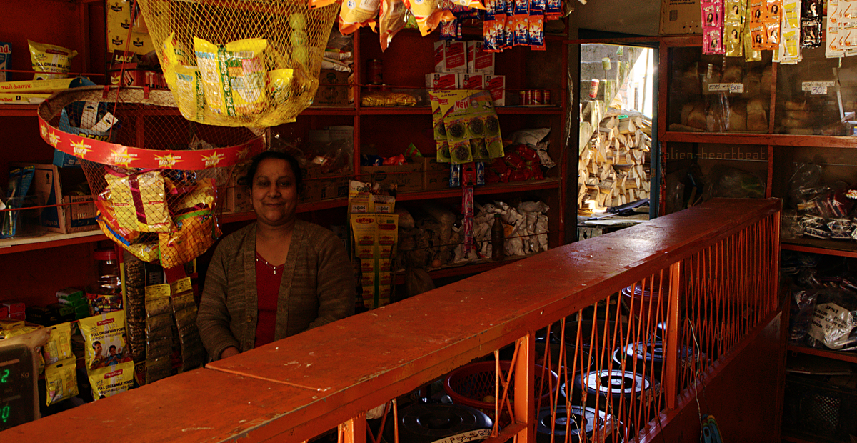 Shantipura - woman in small shop