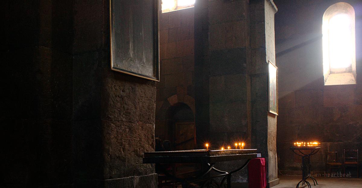 Church in Echmiadzin sitting amid bones of Armenian Genocide