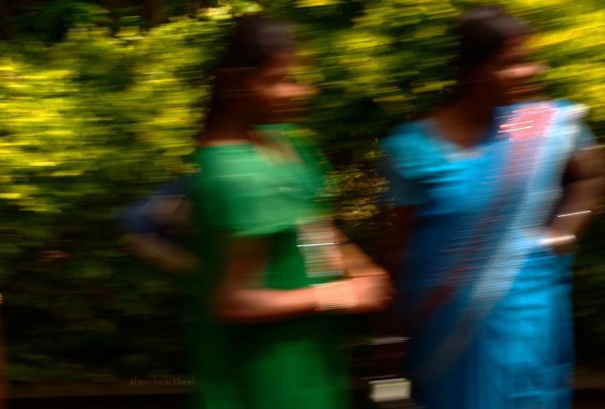 Sri Lanka: Flashing Saris from a train