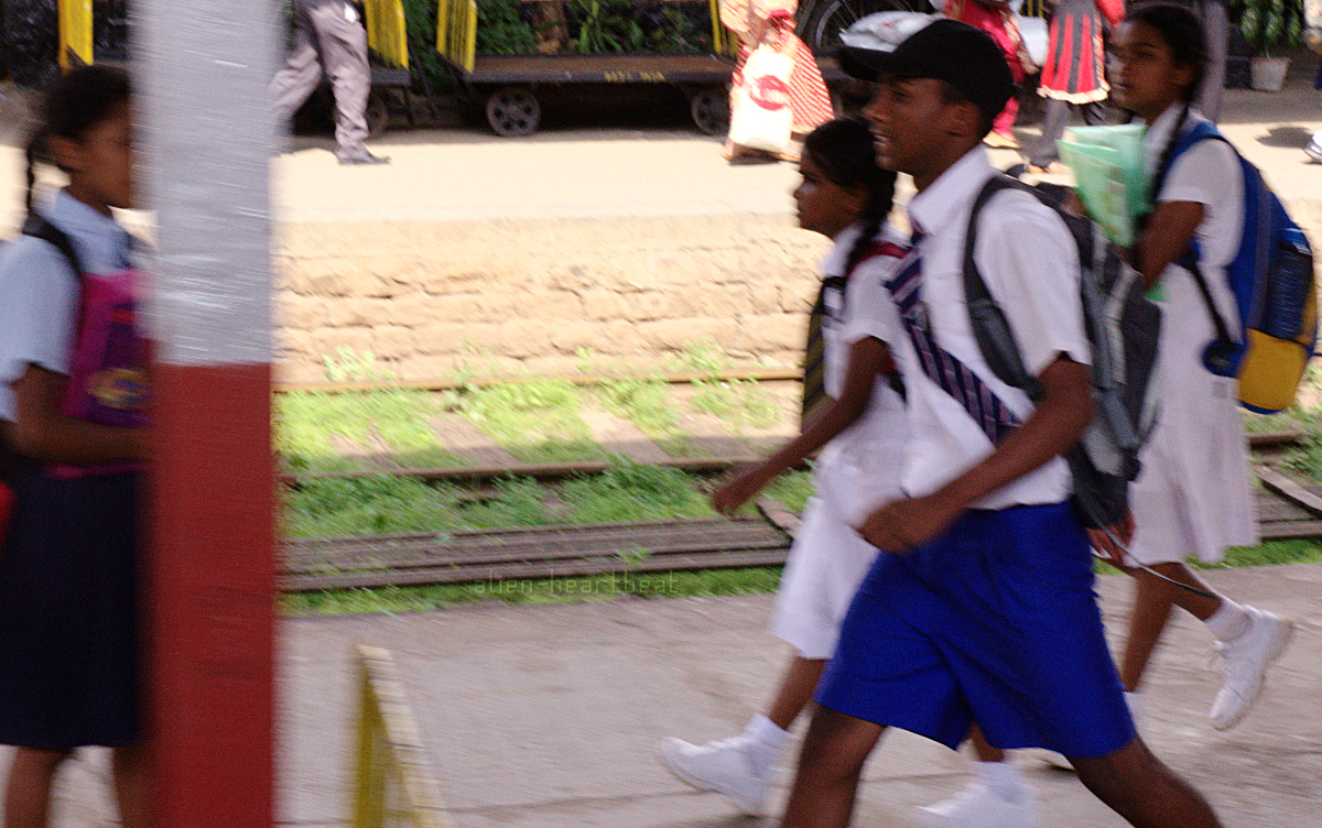 Sri Lanka - School Kids Rushing along Railway Platform