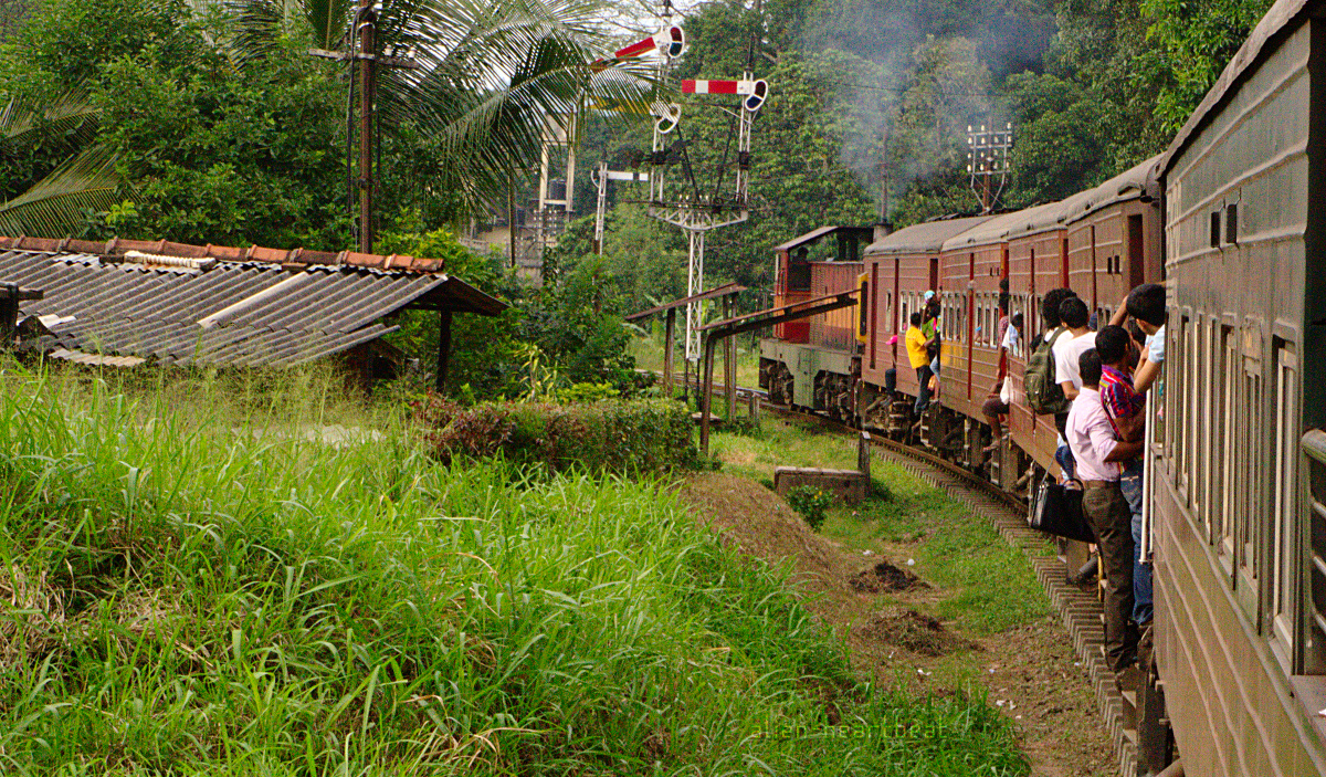 Sri Lanka: Boys Hanging Out of Train