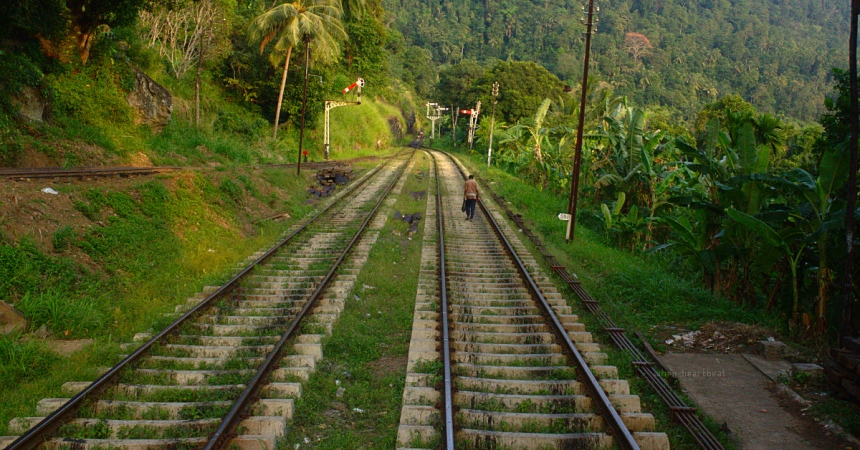 Sri Lanka: Man Walking Home on Railway Tracks