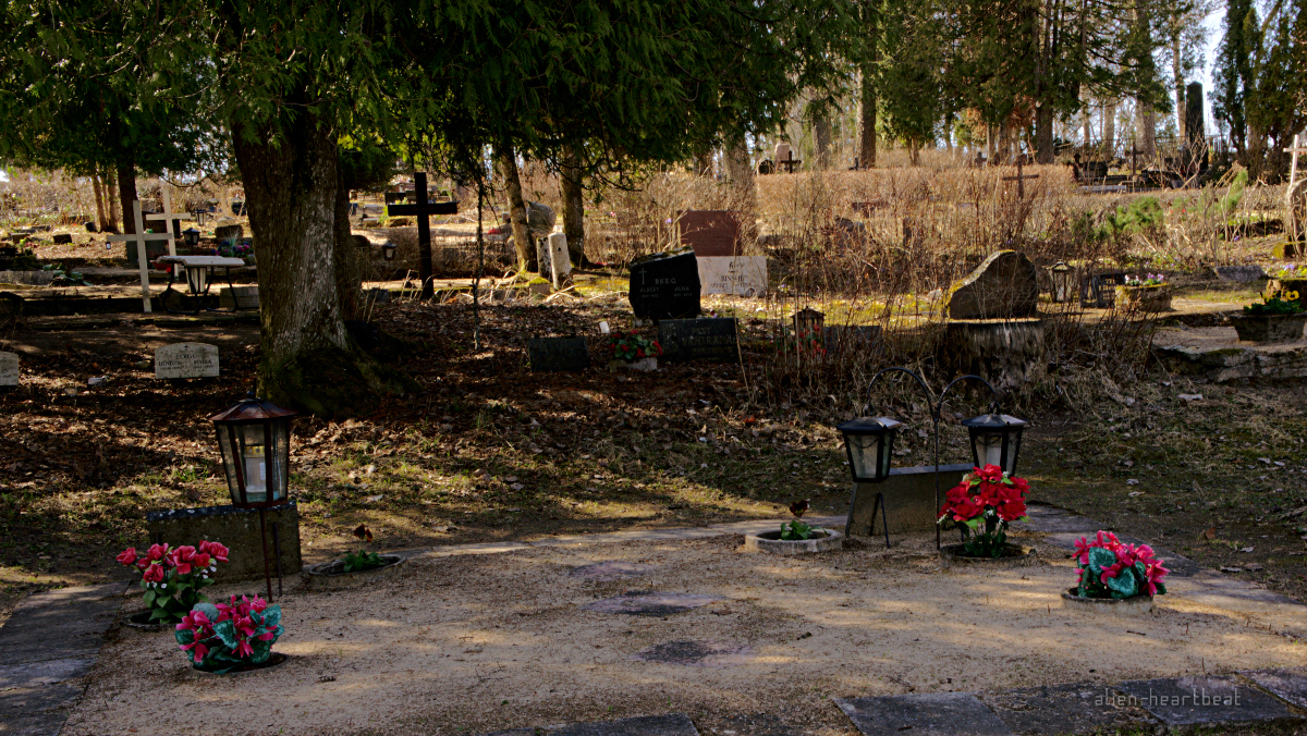 Estonia, Suure-Jaani: Graves with Flowers