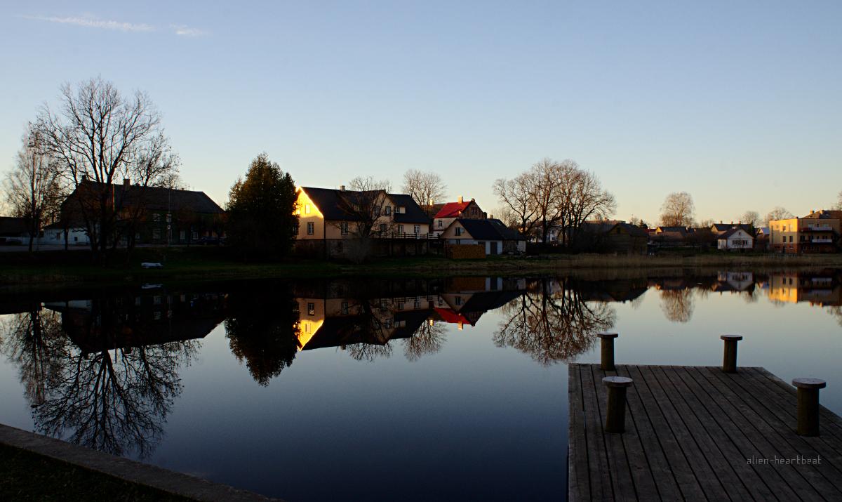Estonia, Suure-Jaani: Evening Reflections on Lake
