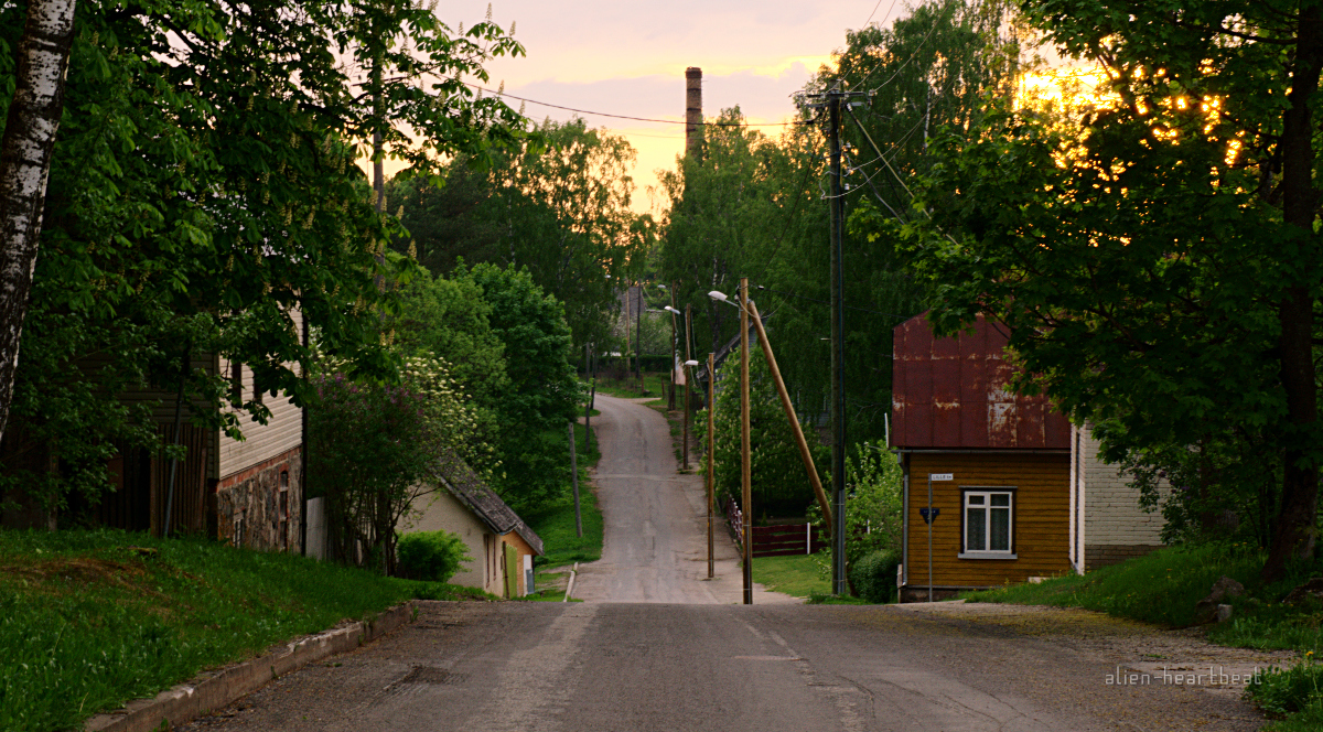Estonia - Otepää - sunset on a street