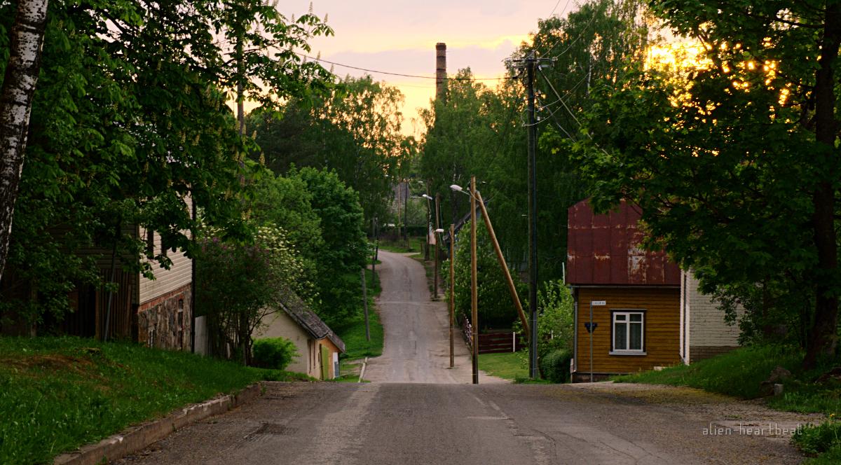 Estonia - Otepää - sunset on a street