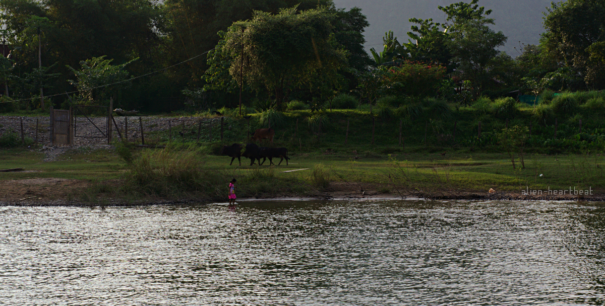 Laos: girl playing in river