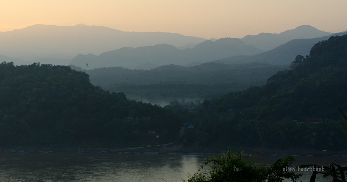 Laos: Mekong river and mountains