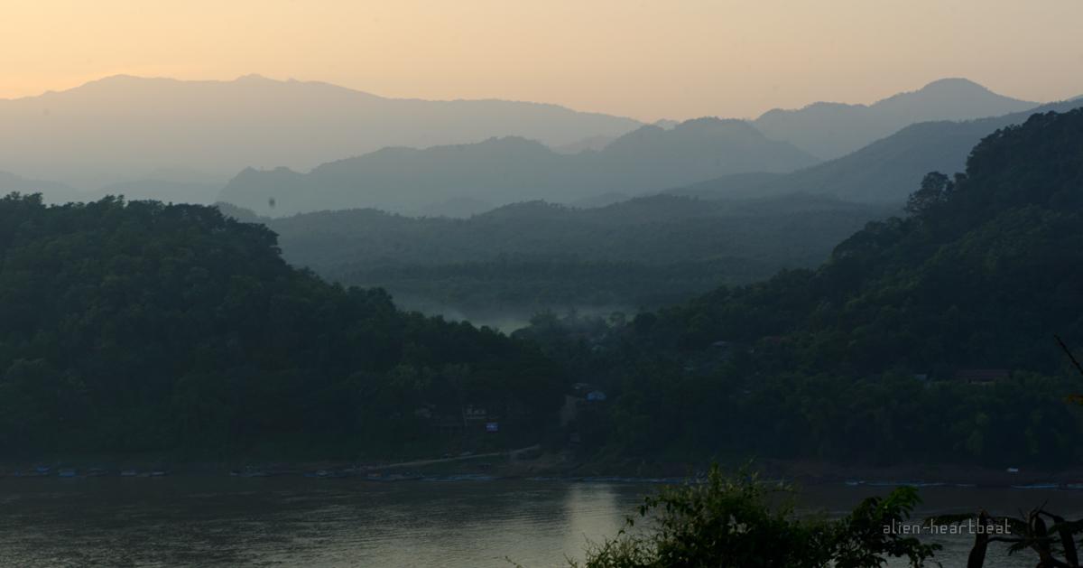 Laos: Mekong river and mountains